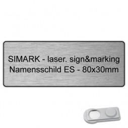 Edelstahl-Namensschild - 80x30mm - Magnet
