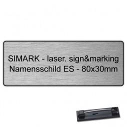 Edelstahl-Namensschild - 80x30mm - Anstecknadel